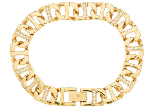Mens Gold Plated Stainless Steel Mariner Link Chain Bracelet With Cubic Zirconia