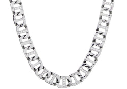 Mens Stainless Steel Link Chain Necklace With Cubic Zirconia