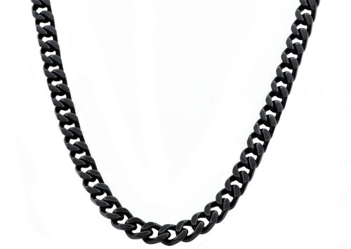 Mens 8mm Black Plated Stainless Steel Curb Link Chain Necklace - Blackjack Jewelry