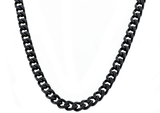 Mens Black Plated Stainless Steel Link Chain Necklace