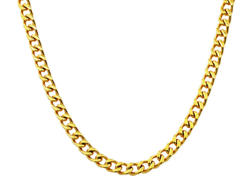 Mens 8mm Gold Plated Stainless Steel Curb Link Chain Necklace - Blackjack Jewelry