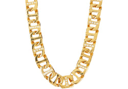 Mens Gold Plated Stainless Steel Link Chain Necklace With Cubic Zirconia