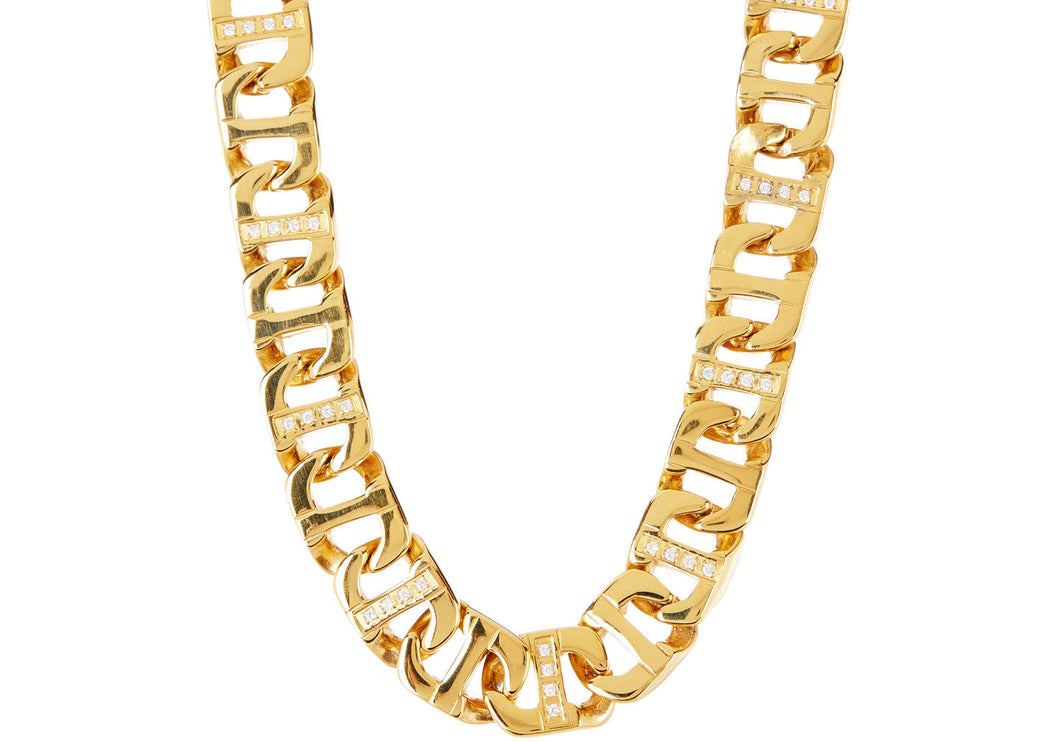 Mens Gold Stainless Steel Anchor Link Chain Necklace With Cubic Zirconia - Blackjack Jewelry