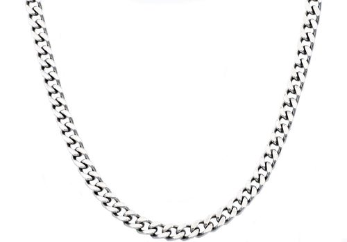 Mens 8mm Stainless Steel Curb Link Chain Necklace - Blackjack Jewelry