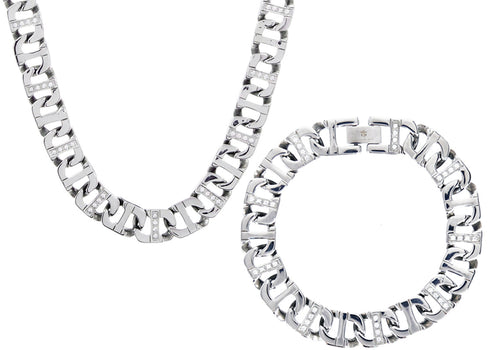 Mens Stainless Steel Anchor Link Chain Set With Cubic Zirconia - Blackjack Jewelry
