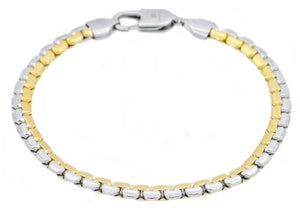 Mens Two tone Gold Stainless Steel Flat Box Link Chain Bracelet - Blackjack Jewelry