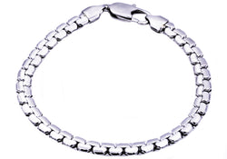 Mens Stainless Steel Flat Box Link Chain Bracelet