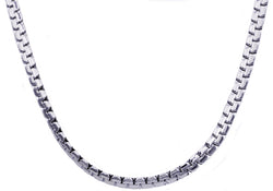 Mens Stainless Steel Flat Box Link Chain Necklace