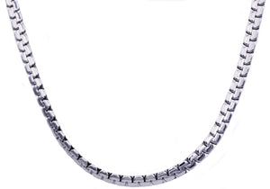 Mens Stainless Steel Flat Box Link Chain Necklace - Blackjack Jewelry