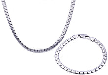 Load image into Gallery viewer, Mens Stainless Steel Flat Box Link Chain Set - Blackjack Jewelry