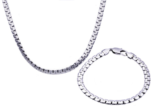 Mens Stainless Steel Flat Box Link Chain Set - Blackjack Jewelry