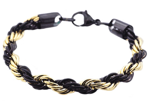 Mens Gold And Black Stainless Steel Rope Chain Bracelet - Blackjack Jewelry
