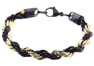 Mens Gold And Black Plated Stainless Steel Rope Chain Bracelet - Blackjack Jewelry