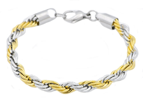 Mens Gold Plated Stainless Steel Rope Chain Bracelet - Blackjack Jewelry