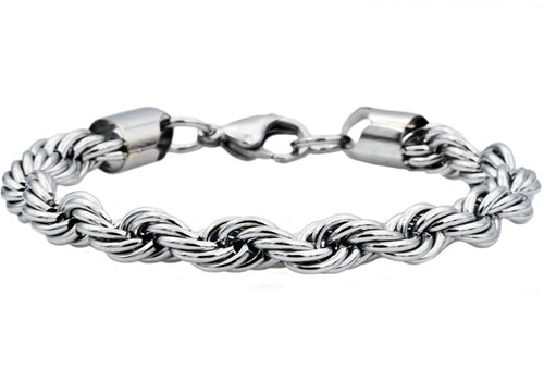Mens Stainless Steel Rope Chain Bracelet - Blackjack Jewelry