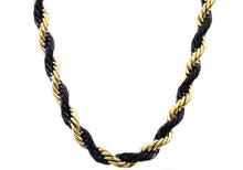 Load image into Gallery viewer, Mens Gold And Black Plated Stainless Steel Rope Chain Necklace - Blackjack Jewelry