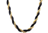 Mens Gold And Black Plated Stainless Steel Rope Chain Necklace
