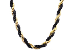 Mens Gold And Black Plated Stainless Steel Rope Chain Necklace - Blackjack Jewelry