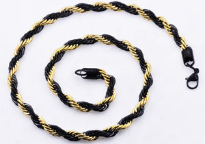 Mens Gold And Black Stainless Steel Rope Chain Necklace - Blackjack Jewelry