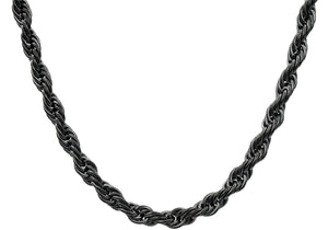 Mens Black Plated Stainless Steel Rope Chain Necklace - Blackjack Jewelry