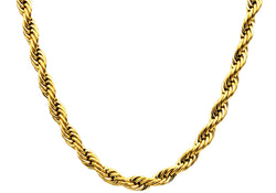 Mens Gold Plated Stainless Steel Rope Chain Necklace - Blackjack Jewelry