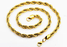 Load image into Gallery viewer, Mens Gold Stainless Steel Rope Chain Necklace - Blackjack Jewelry