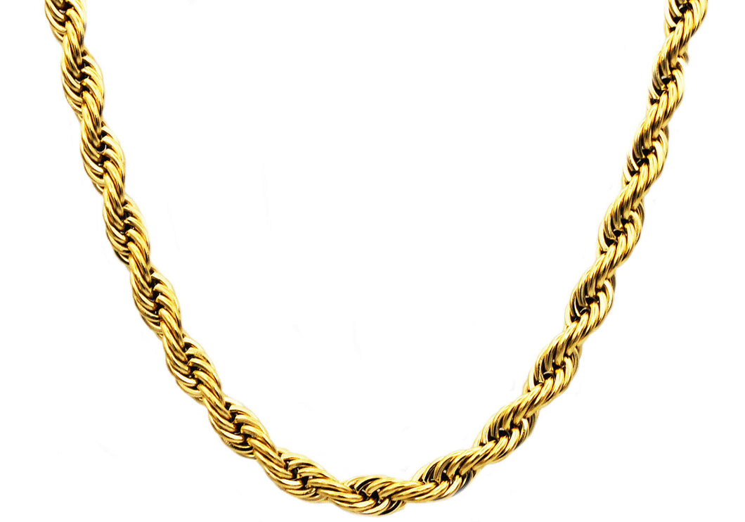 Mens Gold Stainless Steel Rope Chain Necklace - Blackjack Jewelry