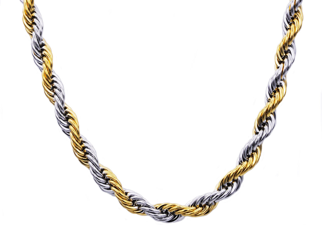 Mens Two tone Gold Stainless Steel Rope Chain Necklace - Blackjack Jewelry