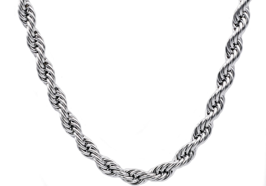 Mens Stainless Steel Rope Chain Necklace - Blackjack Jewelry