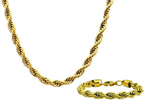 Mens Gold Stainless Steel Rope Link Chain Set - Blackjack Jewelry