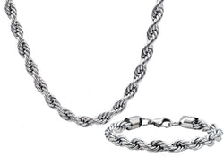 Mens Stainless Steel Rope Link Chain Set - Blackjack Jewelry