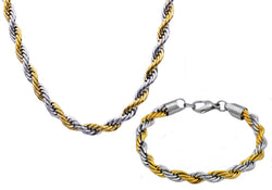 Mens Two Tone Gold Plated Stainless Steel Rope Link Chain Set - Blackjack Jewelry