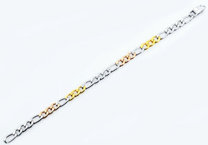 Mens Tricolor Rose Gold and Yellow Gold Plated Stainless Steel Figaro Link Chain Bracelet - Blackjack Jewelry