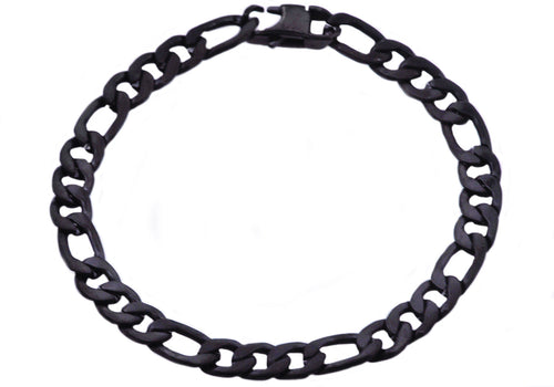 Mens Matte Black Plated Stainless Steel Figaro Link Chain Bracelet - Blackjack Jewelry