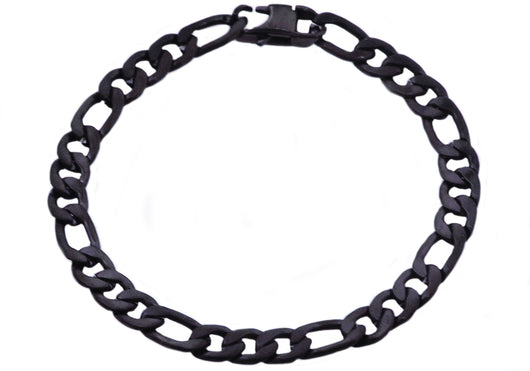 Mens Black Plated Stainless Steel Figaro Link Chain Bracelet