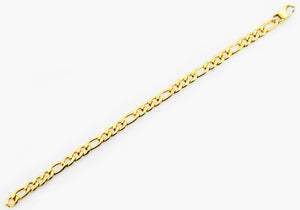 Mens Gold Stainless Steel Figaro Link Chain Bracelet - Blackjack Jewelry