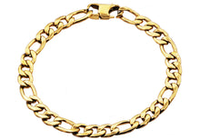 Load image into Gallery viewer, Mens Gold Plated Stainless Steel Figaro Link Chain Bracelet - Blackjack Jewelry