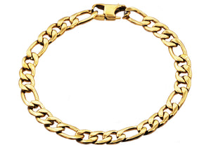 Mens Gold Plated Stainless Steel Figaro Link Chain Bracelet - Blackjack Jewelry