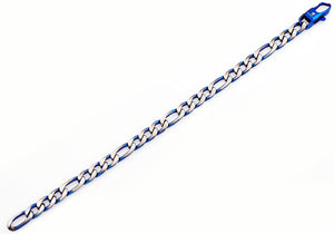 Mens Two Tone Blue Stainless Steel Figaro Link Chain Bracelet - Blackjack Jewelry