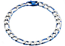 Load image into Gallery viewer, Mens Two Tone Blue Stainless Steel Figaro Link Chain Bracelet - Blackjack Jewelry