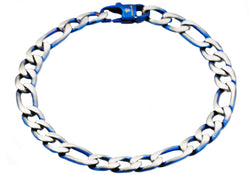 Mens Blue Plated Stainless Steel Figaro Link Chain Bracelet - Blackjack Jewelry