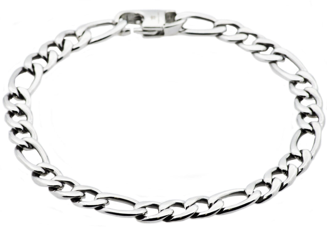 Mens Stainless Steel Figaro Link Chain Bracelet - Blackjack Jewelry