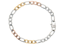 Load image into Gallery viewer, Mens Tricolor Rose Gold and Yellow Gold Plated Stainless Steel Figaro Link Chain Bracelet - Blackjack Jewelry