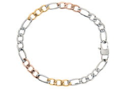 Mens Rose And Gold Plated Stainless Steel Link Chain Bracelet