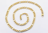 Mens Gold Plated Stainless Steel Figaro Link Chain Bracelet