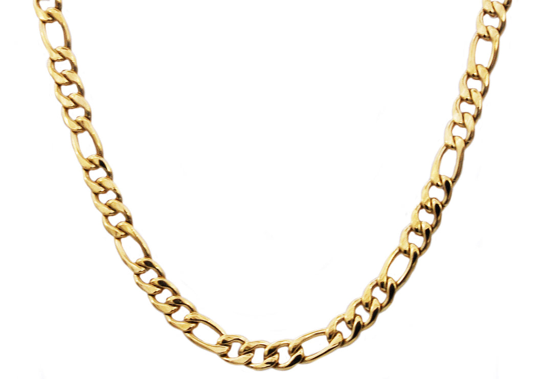 Mens Gold Stainless Steel Figaro Link Chain Necklace - Blackjack Jewelry