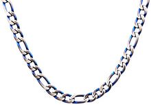 Load image into Gallery viewer, Mens Blue Plated Stainless Steel Figaro Link Chain Necklace - Blackjack Jewelry