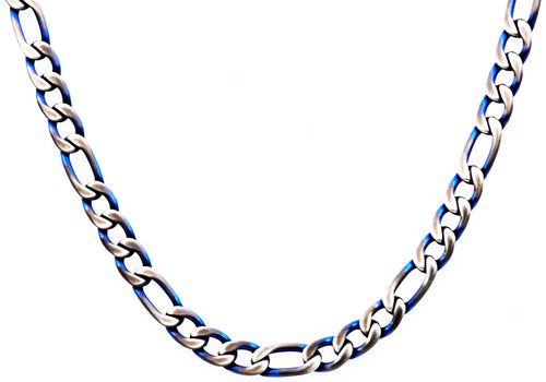Mens Blue Stainless Steel Figaro Link Chain Necklace - Blackjack Jewelry