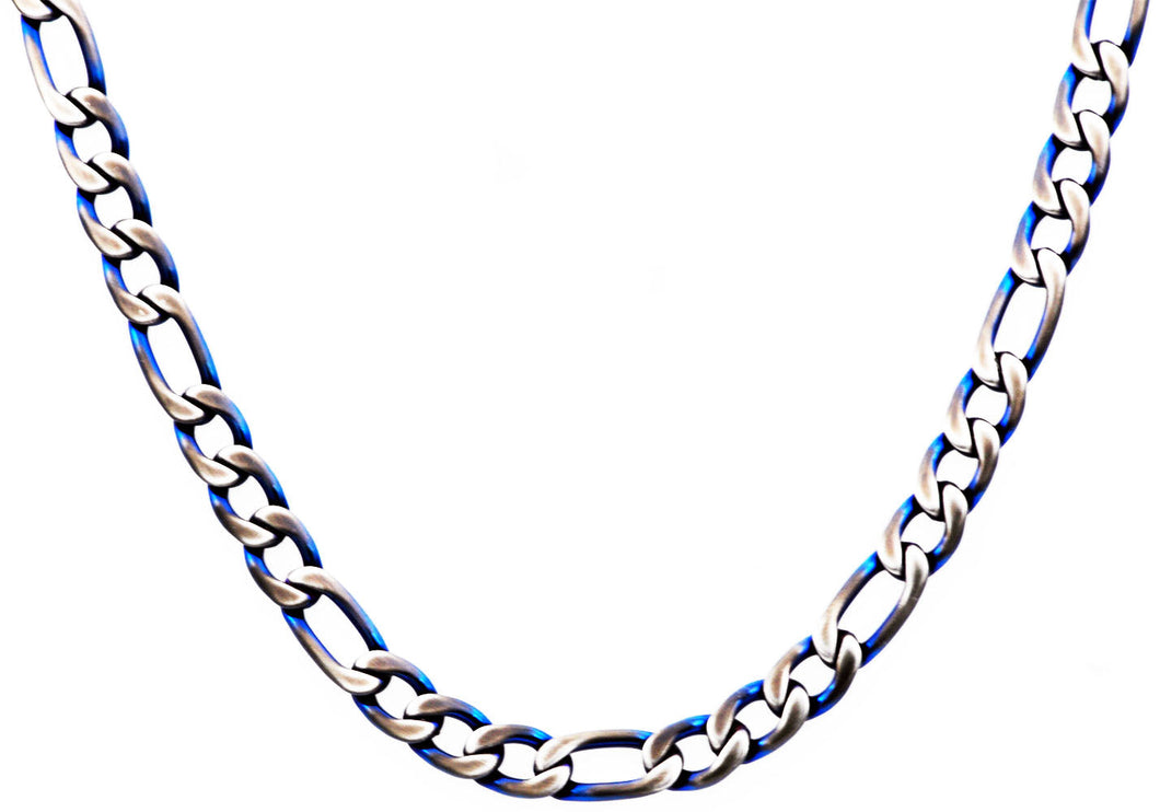 Mens Blue Plated Stainless Steel Figaro Link Chain Necklace - Blackjack Jewelry