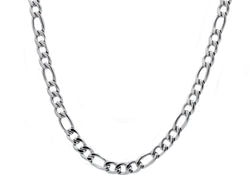 Mens Stainless Steel Figaro Link Chain Necklace